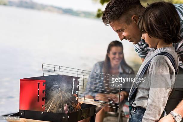 Preparing fire for barbecue!