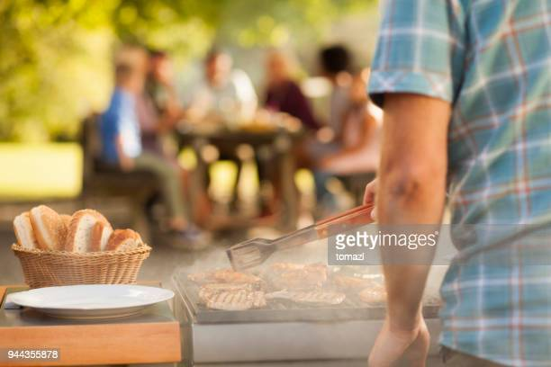 Preparing food at picnic