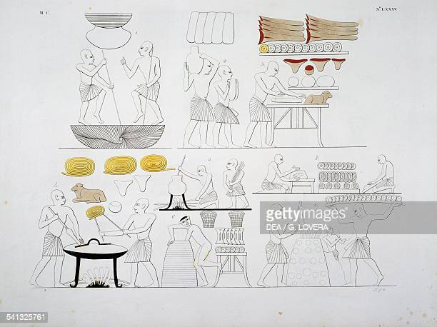 Preparing food from the tomb of Ramesses III at Biban elMuluk Plate LXXXV from The monuments of Egypt and Nubia civil monuments 18321844 by Ippolito...