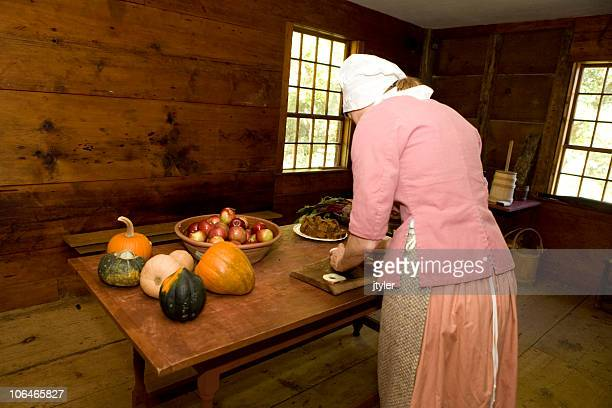 preparing food - colonial america stock photos and pictures