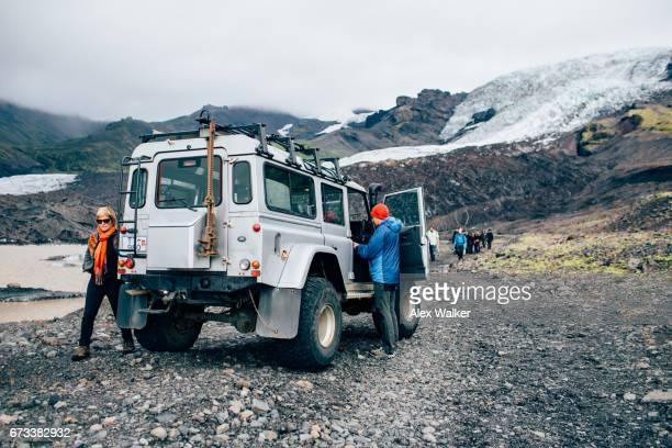 Preparing for a hike on Svínafellsjökull glacier in the Eastern region of Iceland.