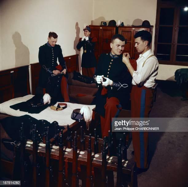 Preparing for ceremony at French military school of SaintCyr circa 1960 in SaintCyr France