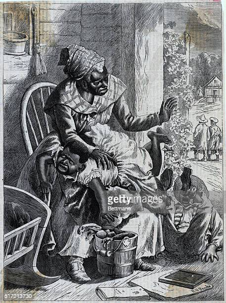 Preparing for School This illustration depicts an African American woman spanking her son on her knee Undated