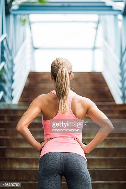 preparing for workout - woman bum stock photos and pictures