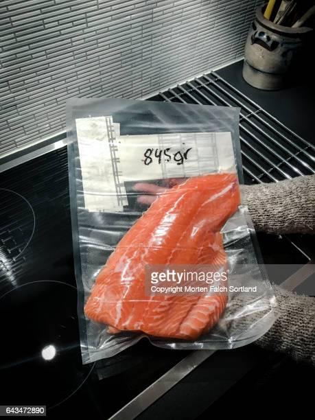 Preparing fresh salmon for freezing