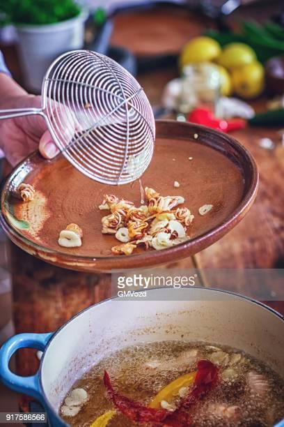 Preparing Fresh Squid to Fry it in Deep Oil