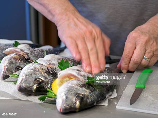 preparing gilthead seabream - salted stock pictures, royalty-free photos & images