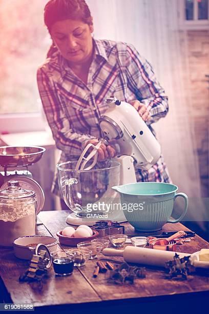 Preparing Gingerbread Dough in Domestic Kitchen