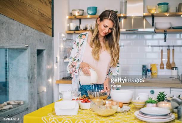 Preparing her favourite cake