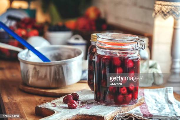 Preparing Homemade Cherry Compote and Canning in Jars
