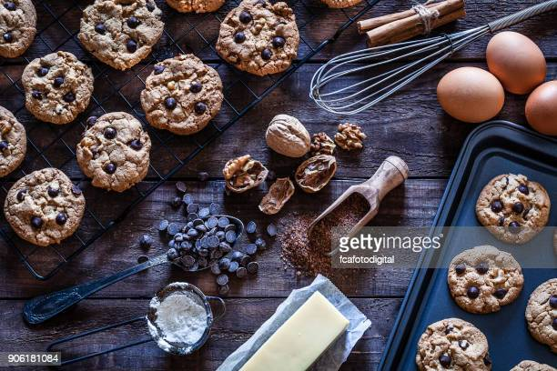 Preparing homemade chocolate chip cookies