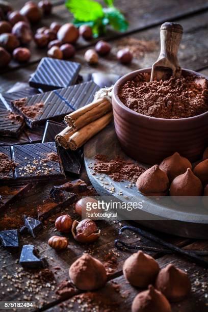 Preparing homemade chocolate truffles
