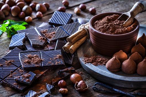 Preparing homemade chocolate truffles 875182498