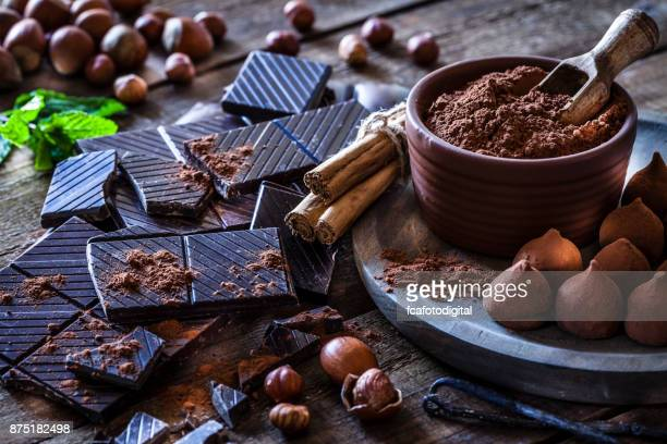 Preparing homemade chocolate truffles