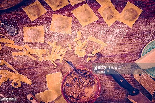 Preparing Homemade Ravioli Pasta in Domestic Kitchen