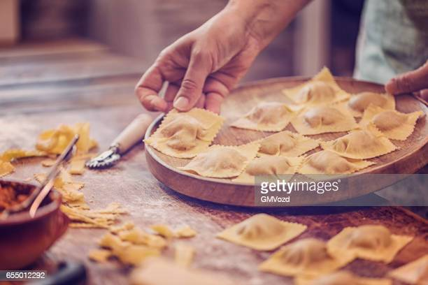 Preparing Homemade Ravioli Pasta