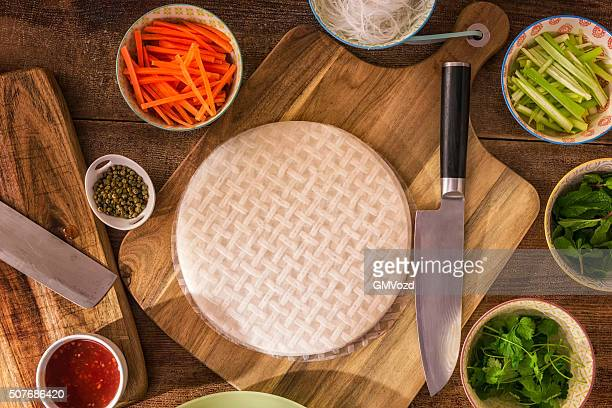 Preparing Homemade Spring Rolls with Fresh Vegetables