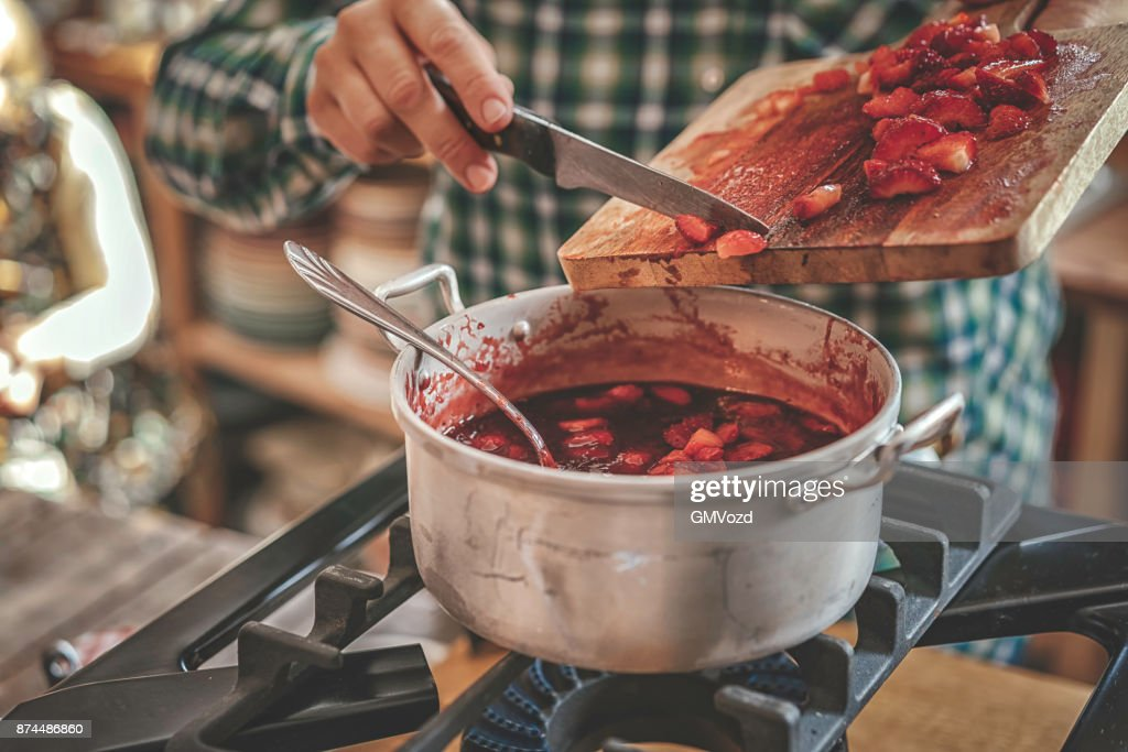 Preparing Homemade Strawberry Jam and Canning in Jars : Stock Photo