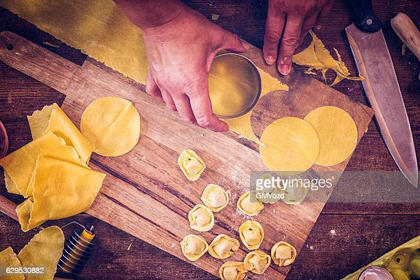 Preparing Homemade Tortellini in Domestic Kitchen