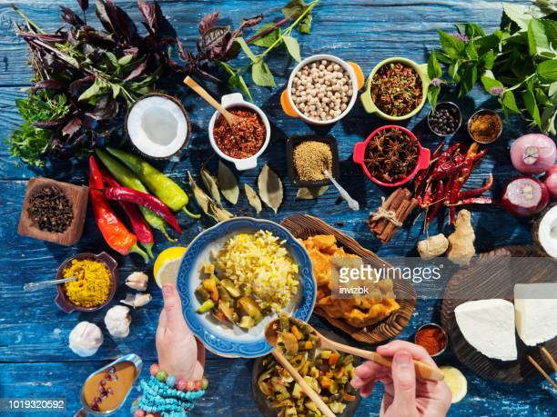 preparing indian food - indian food stock pictures, royalty-free photos & images