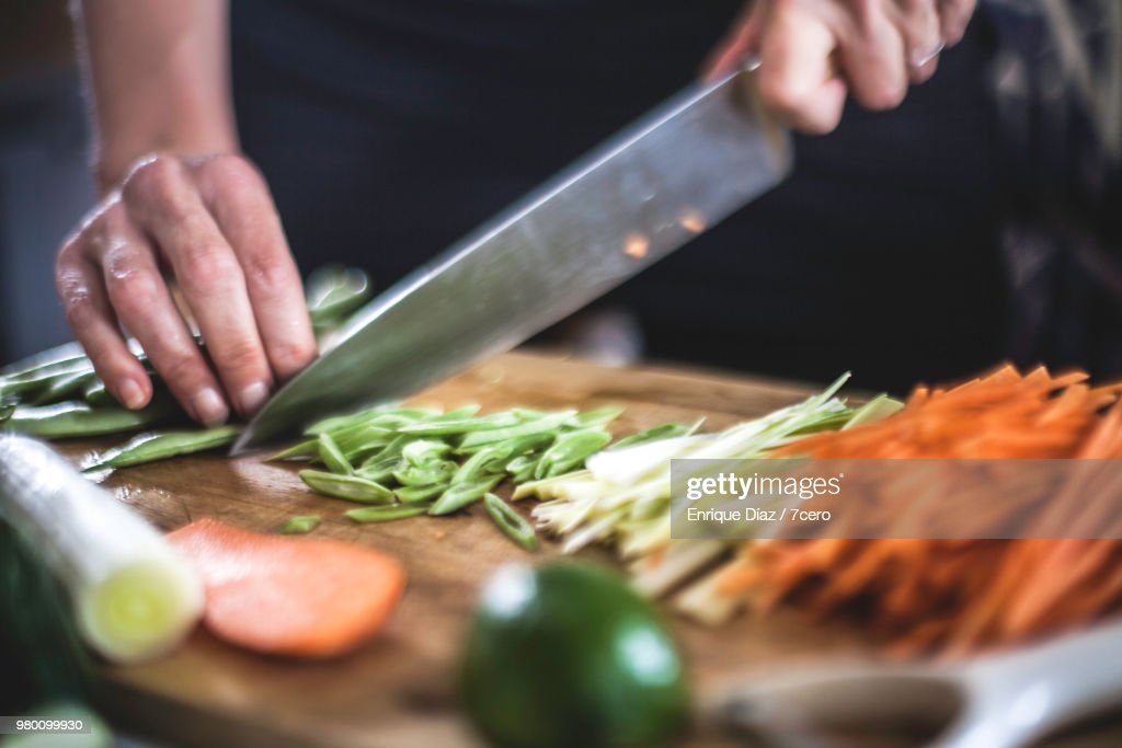 Preparing Julienned Vegetables for Korean Pancakes Close Up : Stock Photo