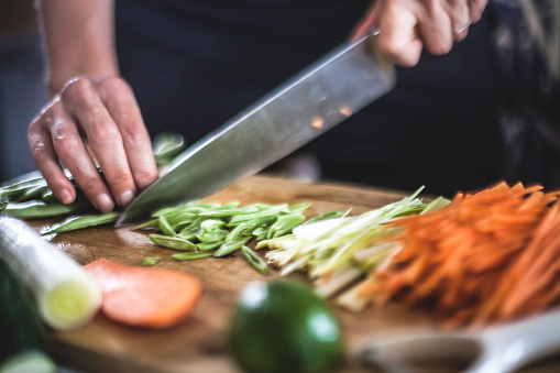 Preparing Julienned Vegetables for Korean Pancakes Close Up - gettyimageskorea
