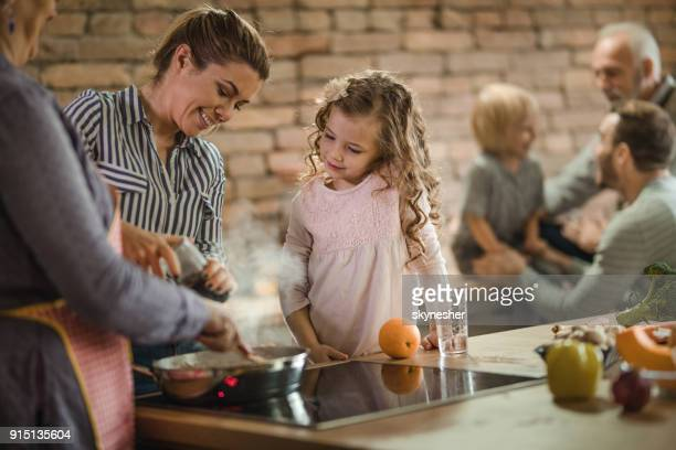 preparing lunch in the kitchen! - mother and daughter smoking stock photos and pictures