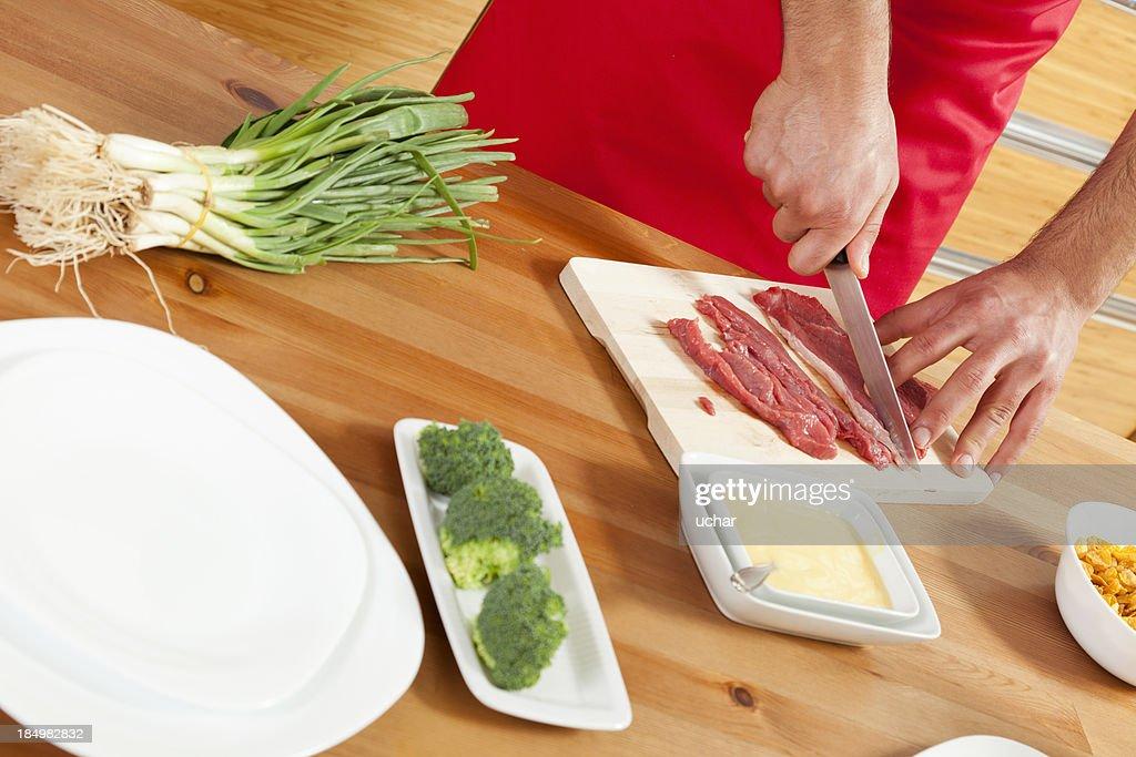 preparing meat : Stock Photo