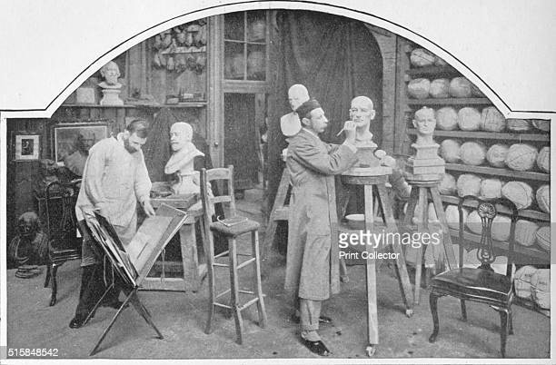 Preparing models at Madame Tussaud's London circa 1903 John Theodore Tussaud sculptor manager and chief artist of Madame Tussaud's at work From...