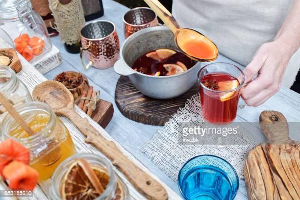 Preparing mulled wine