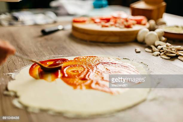 Preparing pizza at home