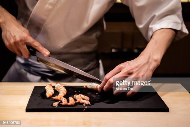Preparing Prawns for Sushi