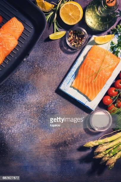 Preparing Salmon Fillet With Fresh Herbs