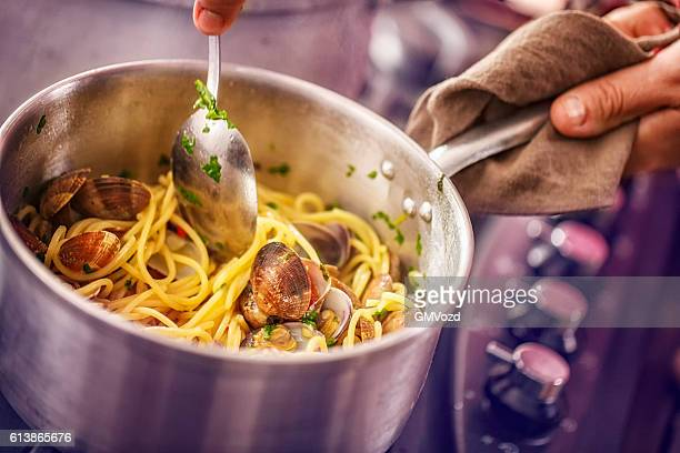 Preparing Spaghetti alla Vongole