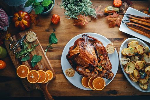 Preparing Stuffed Turkey for Holidays in Domestic Kitchen 1177090460