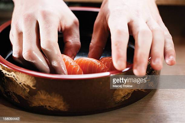 Preparing sushi food