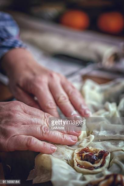 Preparing Sweet Filo Pastry Mince Pies with Dried Fruits
