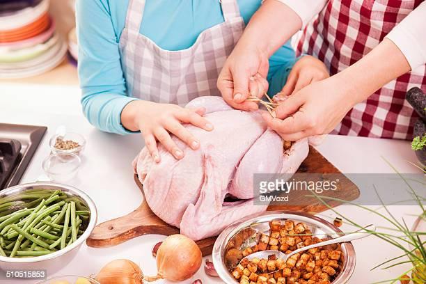 Preparing Thanksgiving Turkey for Holidays