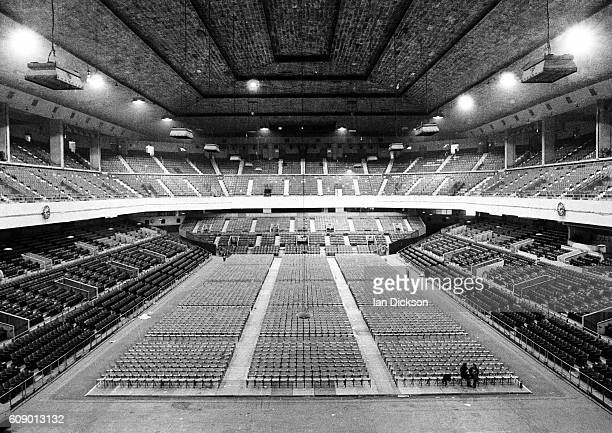 Preparing the empty auditorium at Earls Court for a run of Led Zeppelin concerts London May 1975