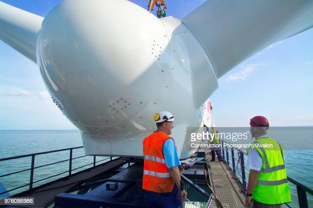 Preparing the First Nacelle onboard the sea energy arrive at the Kentish flats windfarm site Whitstable Kent.