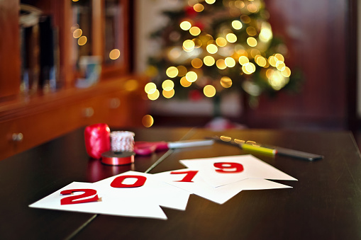 Preparing the new year and Christmas celebrations. Christmas lights bokeh in background - gettyimageskorea