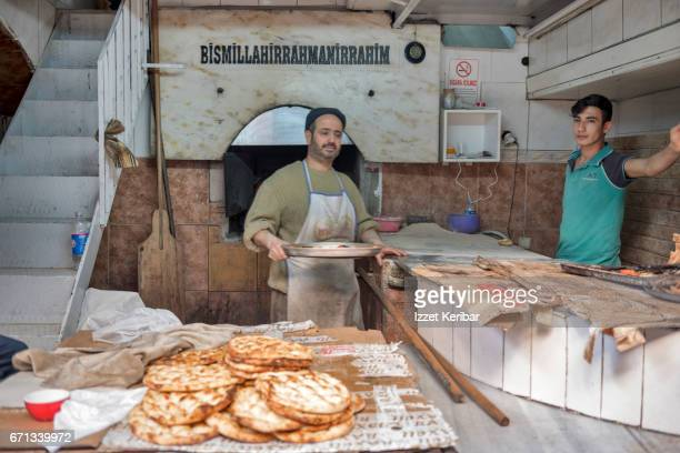 Preparing thread for Kunefe local sweet, Antakya town, southeastern Turkey