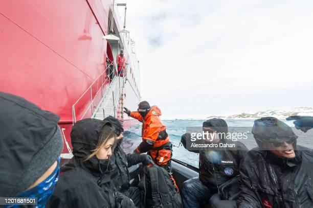 Preparing to board the Polar Ship Admiral Maximiano H41 on November 04 2019 in King George Island Antarctica