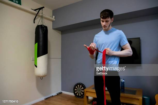 preparing to box - combat sport stock pictures, royalty-free photos & images