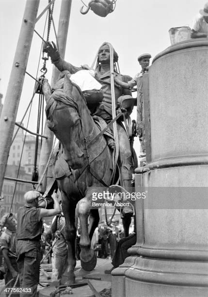 Preparing to Hoist Washington Statue in Union Square New York City New York circa 1930