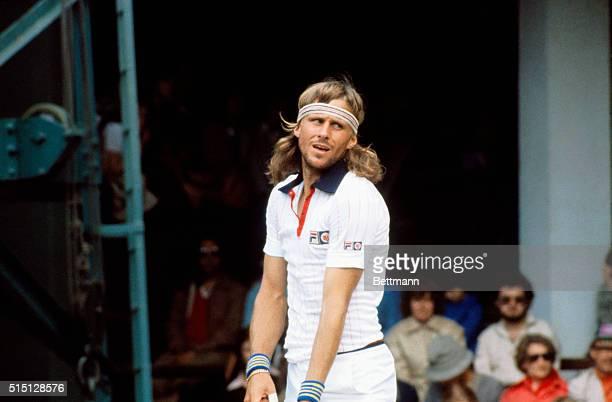 Preparing to serve at Wimbledon is 1980 Men's Singles Finals champion, Bjorn Borg, of Sweden.