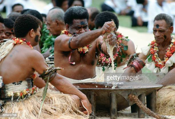 Preparing traditional Kava drink at ceremony Fiji South Pacific