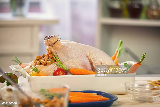 Preparing Turkey for Thanksgiving Dinner
