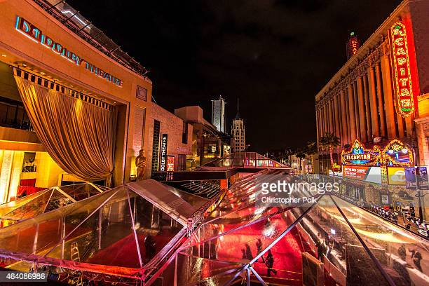 Preperations continue for the 87th Annual Academy Awards at Dolby Theater on February 21, 2015 in Hollywood, California.