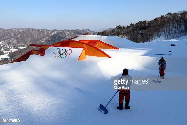 Preperations continue on the slopestyle course during previews ahead of the PyeongChang 2018 Winter Olympic Games at Phoenix Park on February 4 2018...